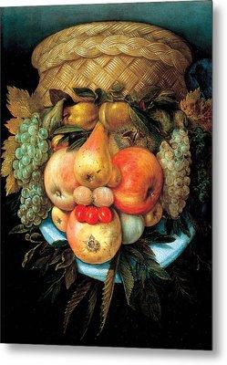 Fruit Basket Metal Print by Giuseppe Arcimboldo