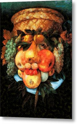 Fruit Basket Of Giuseppe Arcimboldo Revisited - Da Metal Print