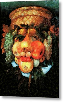Fruit Basket Of Giuseppe Arcimboldo Revisited Metal Print