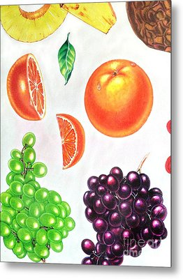 Fruit Illustrations - Markers And Pencil Metal Print