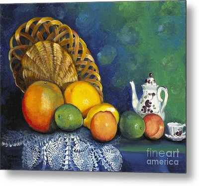 Fruit On Doily Metal Print by Marlene Book