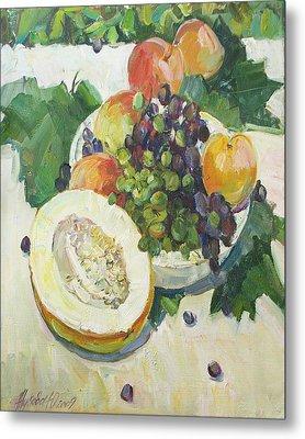 Fruit On Grape Leaves Metal Print by Juliya Zhukova