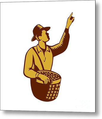 Fruit Picker Worker Pointing Woodcut Metal Print