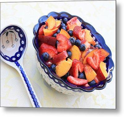 Fruit Salad With Spoon Metal Print by Carol Groenen