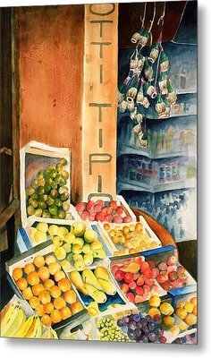 Fruit Shop In San Gimignano Metal Print by Judy Swerlick