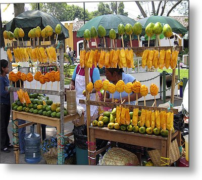 Fruit Stand Antigua  Guatemala Metal Print by Kurt Van Wagner