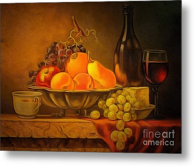Fruit Table Buffet In Ambiance Metal Print by Catherine Lott