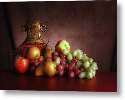 Fruit With Vase Metal Print