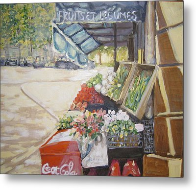 Metal Print featuring the painting Fruits Et Legumes by Julie Todd-Cundiff