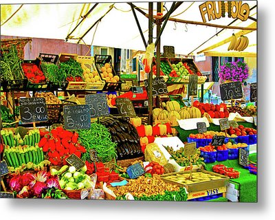 Metal Print featuring the photograph Fruttolo Italian Vegetable Stand by Harry Spitz