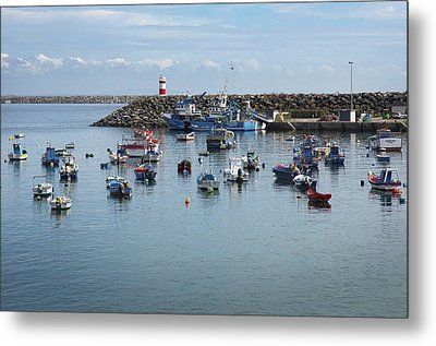Fishing Boats In Sines Harbot, Portugal Metal Print by Carlos Caetano