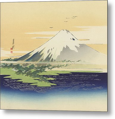 Fuji From The Beach At Mio Metal Print by Ogata Gekko