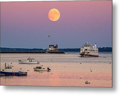 Full Hunter Moon Over Rockland Breakwater Metal Print by Tim Sullivan
