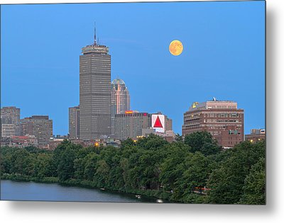 Metal Print featuring the photograph Full Moon Across Boston Skyline by Juergen Roth