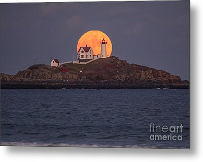 Full Moon Behind Nubble Metal Print