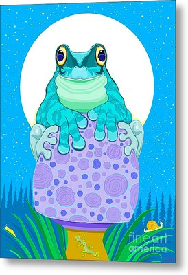 Metal Print featuring the digital art Full Moon Froggy  by Nick Gustafson