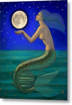 Full Moon Mermaid Metal Print