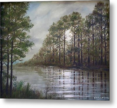 Full Moon On The River Metal Print