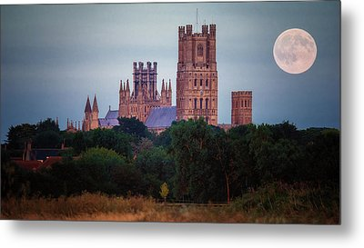 Full Moon Over Ely Cathedral Metal Print