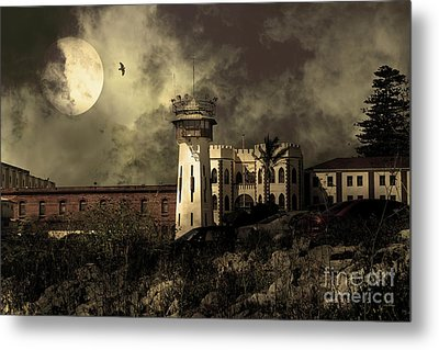 Full Moon Over Hard Time San Quentin California State Prison 7d18546 V2 Sepia Metal Print by Wingsdomain Art and Photography