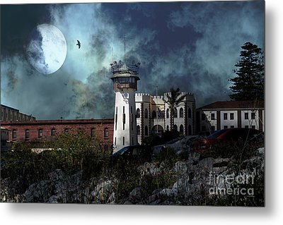 Full Moon Over Hard Time San Quentin California State Prison 7d18546 V2 Metal Print by Wingsdomain Art and Photography
