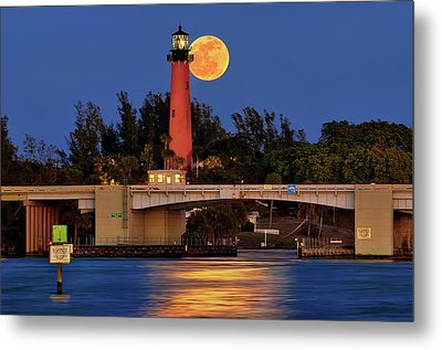 Full Moon Over Jupiter Lighthouse, Florida Metal Print