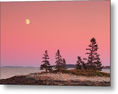 Metal Print featuring the photograph Full Moon Over Maine  by Emmanuel Panagiotakis