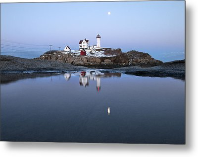Full Moon Over Nubble Lighthouse Metal Print