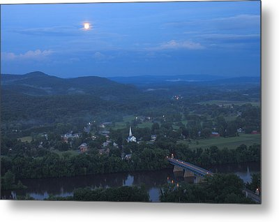 Full Moon Over The Connecticut River Valley Metal Print by John Burk