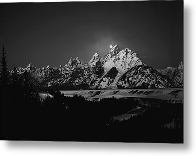 Full Moon Sets In The Tetons Metal Print
