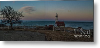 Full Moon Panorama Over Portland Headlight Metal Print