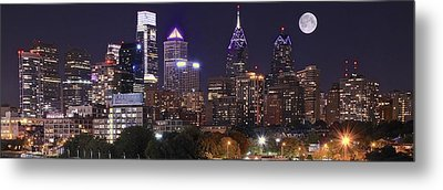 Full Moon Philly Panorama Metal Print by Frozen in Time Fine Art Photography
