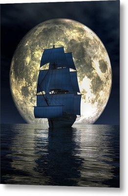 Metal Print featuring the digital art Full Moon Pirates by Daniel Eskridge
