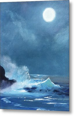 Full Moon Seascape Metal Print