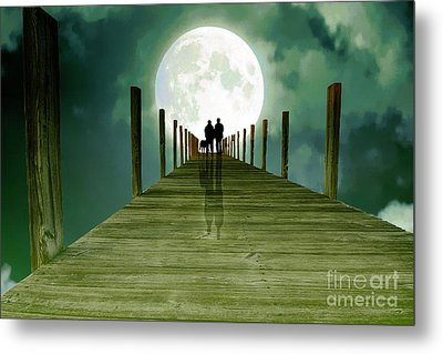 Full Moon Silhouette Metal Print by Mim White