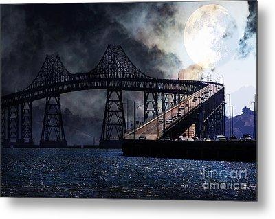 Full Moon Surreal Night At The Bay Area Richmond-san Rafael Bridge - 5d18440 Metal Print by Wingsdomain Art and Photography
