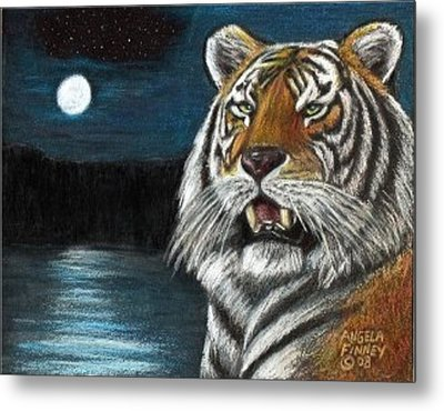 Full Moon Tiger Metal Print by Angela Finney