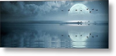 Fullmoon Over The Ocean Metal Print by Jaroslaw Grudzinski
