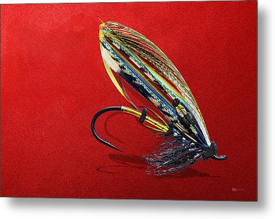Fully Dressed Salmon Fly On Red Metal Print by Serge Averbukh