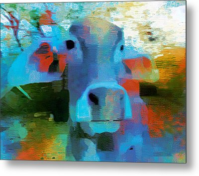 Turquoise Abstract Fun Cow Rajasthan India 1a Metal Print by Sue Jacobi