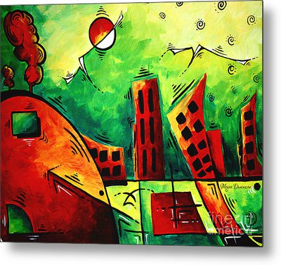 Fun Contemporary Abstract Pop Art Style Cityscape Landscape Evergreen By Madart Metal Print by Megan Duncanson
