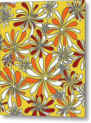 Fun Funky Abstract Flower Pattern Floral Fiesta 6 By Megan Duncanson Metal Print by Megan Duncanson