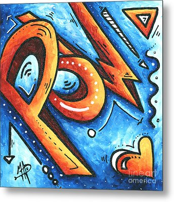 Fun Funky Contemporary Pop Art Pow Hearts And More By Madart Metal Print by Megan Duncanson