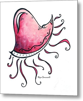 Fun Funky Pink Jellyfish Tropical Icon Painting By Megan Duncanson Metal Print by Megan Duncanson