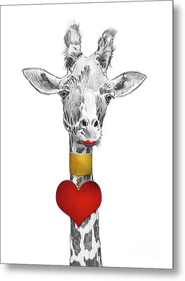 Fun Giraffe All Dressed Up With Lipstick And Heart Necklace Metal Print