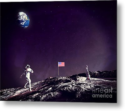 Metal Print featuring the digital art Fun On The Moon by Methune Hively