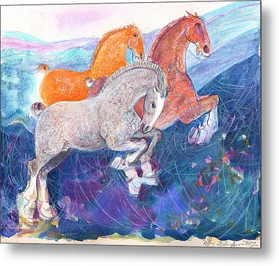 Metal Print featuring the painting Fun Time by Mary Armstrong