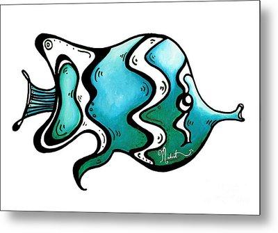 Fun Whimsical Blue Tropical Fish Icon By Megan Duncanson Metal Print by Megan Duncanson