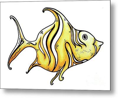 Fun Whimsical Yellow Fish Icon Design By Megan Duncanson Metal Print by Megan Duncanson