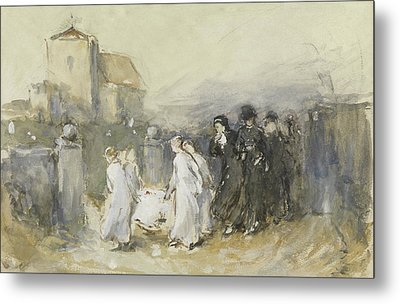 Funeral Of The First Born Metal Print by Frank Holl